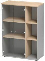 Gamillo Furniture Vitrinekast Jazz van 114 cm hoog in beuken met licht grijs