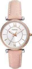 Fossil ES4484 Horloge Carlie staal-leder rosekleurig-roze 35 mm