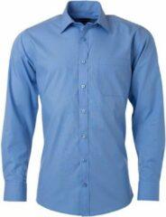 James & Nicholson James and Nicholson Heren Longsleeve Poplin Shirt (Aqua Blauw)