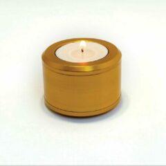 TOLAD Halo mini-urn/ waxinelichthouder voor kleine hoeveelheid as - 4,2 cm hoog - Goud zijdeglans