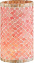 J-Line Theelichthouder Mozaiek Glas Roze/Beige Large