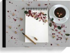 Rode KuijsFotoprint Canvas - Koffiebonen met Kruiden - 40x30cm Foto op Canvas Schilderij (Wanddecoratie op Canvas)