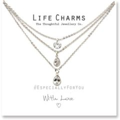 Life Charms Ketting met Giftbox Silver 3 Layer Crystal