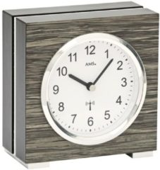 AMS 5154 Tafelklok zendergestuurd hout antraciet. 13 x 12 cm