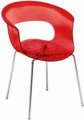 Rode ABC Kantoormeubelen Kantinestoel Design Louisa Battaglia Doorschijnend