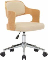 Creme witte VidaXL Kantoorstoel draaibaar gebogen hout en kunstleer crème VDXL 3054850