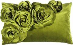 Pad sierkussenhoes met bloemen applicatie Floral lichtgroen - 30x50 cm