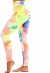Sportlegging – Olamee – Tie Dye - Anti Cellulite Legging - Absorberend - Yoga – Fitness – Vrije tijd - Scrunch Butt - High Waist - Gym Sports Wear – Elastisch – Tweede huid – Platte buik – A Kwaliteit – Rondere billen – Smallere taille-Rainbow Neon-L