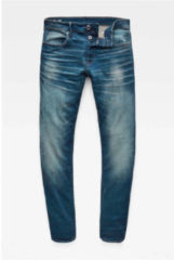 Blauwe G-Star RAW straight fit jeans 3301 worker blue faded