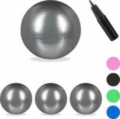 Relaxdays 4x fitnessbal 75 cm - pompje - gymbal - zitbal - yogabal - pilatesbal - zilver