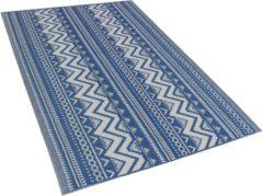 Buiten-vloerkleed geometrisch patroon blauw 120 x 180 cm. NAGPUR