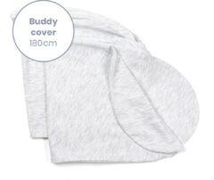 Licht-grijze Doomoo Buddy Cover - Chine White - Hoes voor voedingskussen Buddy - biologisch Katoen - 180 cm