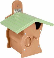 WorldPet Flamingo Nestkastje gorky kunststof met hout bruin/groen 21x18,5x25,5cm