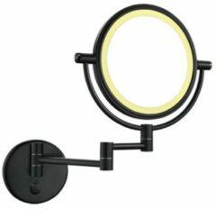 Douche Concurrent Cosmeticaspiegel Wiesbaden 20x20cm Geintegreerde LED Verlichting Kantelbaar 5x Vergroting Touch Lichtschakelaar Mat Zwart