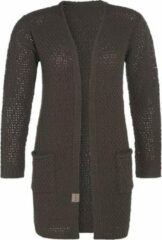 Knit Factory Luna Gebreid Dames Vest - Taupe - 40/42 - Met steekzakken