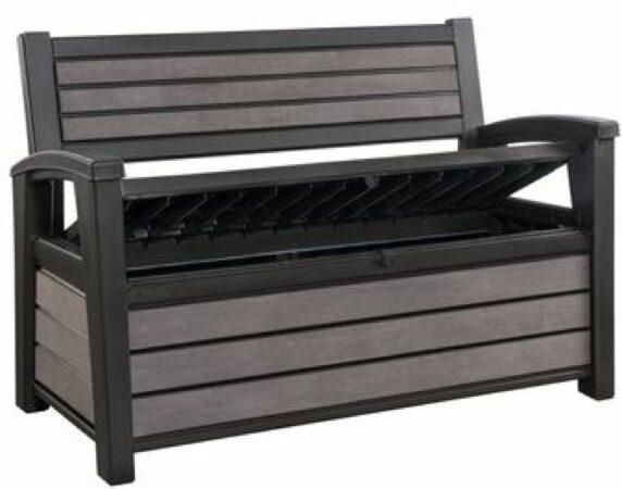 Afbeelding van Antraciet-grijze Keter - Hudson Bench box - 2-zits bank - Opbergbox - Hout look & feel - 227L - 138x63x89cm - Antraciet
