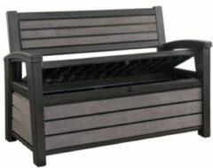 Antraciet-grijze Keter - Hudson Bench box - 2-zits bank - Opbergbox - Hout look & feel - 227L - 138x63x89cm - Antraciet