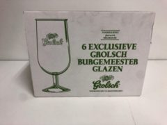 Groene Grolsch bierglas bierglazen op voet doos 6x (25-30cl) burgemeester bier glas glazen