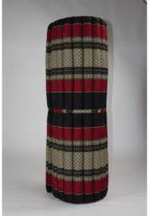 Zwarte Fine Asianliving Thais Kussen Meditatiekussen Meditatie Mat Matras Fine Asianliving Thai Mat Rollable Matress 200x100x4.5cm Black Red