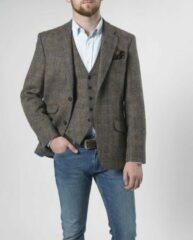 Groene Harris Tweed Enkel rij, 2 knoops met klepzakken en zijsplitten Harris Tweed jackets Heren Colbert Maat EU48