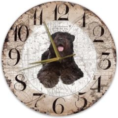 Bruine Creatief Art Houten Klok - 30cm - Hond - Bouvier