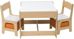 KPW Kindertafel en stoeltjes met krijtbord - Kindertafel met stoeltjes van hout - wit/oranje hout - kindertafel met opbergruimte - Kleurtafel - speeltafel / knutseltafel / tekentafel / zitgroep set - kinderzetel - stoel kind
