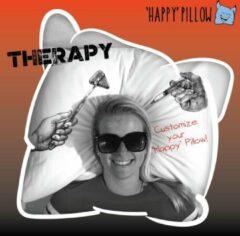 Rode Happy Pillow - Therapy kussensloop met print inclusief textielstiften (Het nieuwe gips, ziekenhuiscadeau)