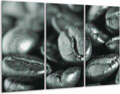 GroepArt Schilderij | Canvas Schilderij Koffiebonen, Keuken | Grijs, Zwart, Groen | 120x80cm 3Luik | Foto print op Canvas