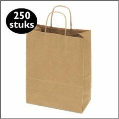 Bruine Kadoonline etiketten 250 papieren draagtassen kraft groot L (32x12x41cm)