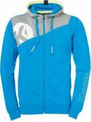 Kempa Core 2.0 Hood Jacket Kind Kempablauw-Donker Grijs Melange Maat 116