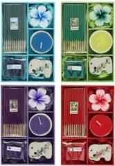 Paarse Something Different Wierook cadeauset met theelichtje   wierookkegels & wierookstokjes   orchidee, citroengras, lavendel, oceaan