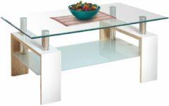 Transparante Home Style Glazen salontafel Diana duo 110 cm breed in wit met sonoma eiken