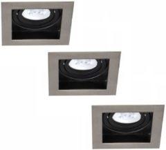 Set van 3 stuks dimbare LED inbouwspots Modesto met 5 Watt Philips spot kantelbaar