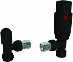 Eastbrook Thermostatische designradiatorkraan met afsluiter in mat zwart met hoekaansluiting