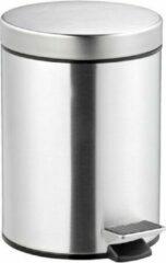 Lucy's Living Lucy's Living Luxe pedaalemmer MEL zilver - 5 L – ø 20.5 x H29 cm - badkamer - keuken - kantoor – slaapkamer – staal