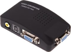 Coretek Composiet RCA en S-VHS naar VGA video converter / zwart