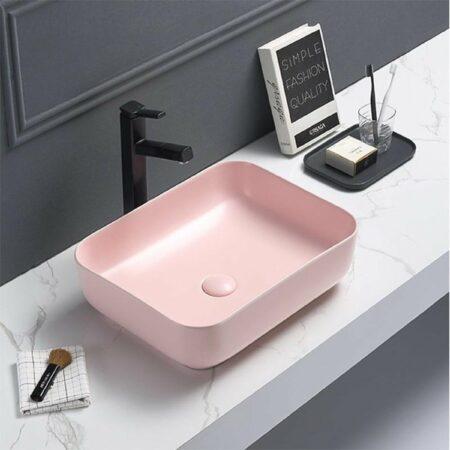 Afbeelding van Bewonen Colour Line opzetwastafel 50x39cm - pastel roze