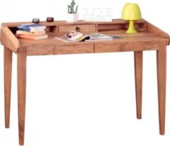 Wohnling Schreibtisch BOHA Akazie Massiv-Holz 117x76x70 cm / Echt-Holz Sekretär mit 3 Schubladen und Ablagefächern / Computertisch PC-Tisch braun