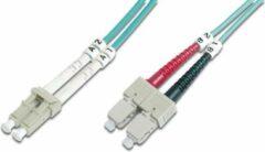 Groene Digitus LC / SC Glasvezel kabel 1 m OFC Turkoois