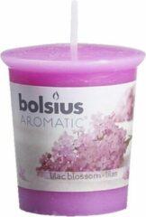 Paarse Bolsius Geurkaars Geurvotive rond 53/45 Lilac Blossom 6 stuks