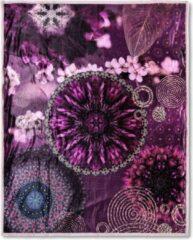 Plaid Hip Polyester Nr.6688 - Multi - 130x160cm - Paars Maat: 130x160cm