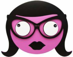 NeXtime Ms Spectacles - Klok - Stil Uurwerk - Rond - Hout - 39x35 cm - Roze/ Zwart