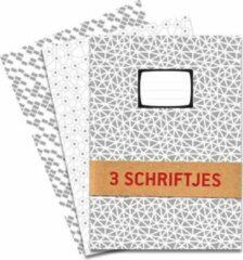 Grijze De Kaartenmakers Schriften met ruitjes (10mm) - 3 stuks A5 Geruit