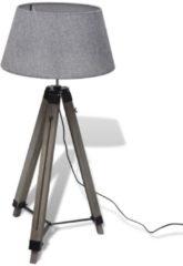 Grijze VidaXL Staande Lamp met verstelbaar houten Statief en stoffen Kap Grijs