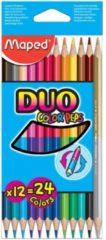 Kleurpotlood Maped driehoekig color\'peps duo 12 potloden in een kartonnen etui = 24 kleuren