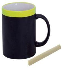 Krijtbord koffie mokken in het geel - beschrijfbare koffie/thee mok/bekers - iedere collega of gezinslid met zijn eigen naam