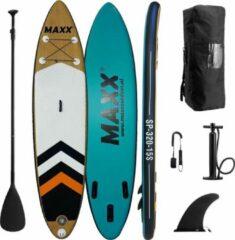 """Blauwe Maxxoutdoor - Ladoga - 10'6"""" - Opblaasbaar SUP Board - 2021 - 320cm - 15PSI - Wood & Blue"""