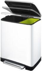 Roestvrijstalen EKO E-Cube pedaalemmer voor recycling 28+18 liter wit