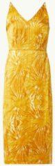 Oranje Scotch & Soda Midi jurk met V-hals en tie-dye dessin
