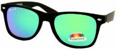 Loud and Clear Wayfarer Zonnebril Heren Gepolariseerd Polariserend Polarized Mat Zwart - Groen Blauw Spiegelglazen